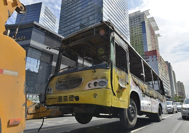 北京一辆公交车起火