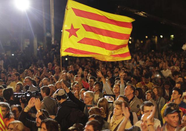 巴塞罗那支持加泰罗尼亚独立的人士