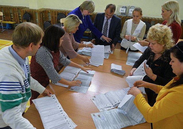 俄中选委:半数投票结果统计结束后统俄党在203个选区领先 得票53.54%