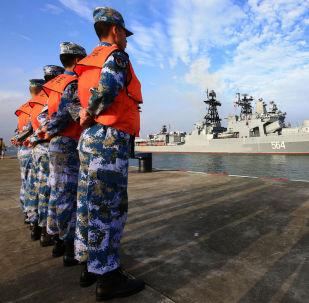 """俄罗斯军舰在俄中""""海上联合-2016""""军演开始前抵达湛江港口"""