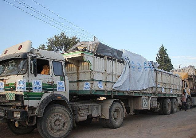 俄军方为叙利亚民众送去4600多吨食品