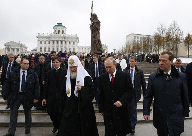 莫斯科及全俄罗斯东正教宗主教基里尔与普京总统