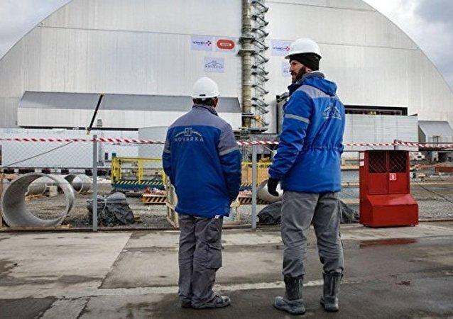 切尔诺贝利核电站4号机组外的新掩体安装完毕