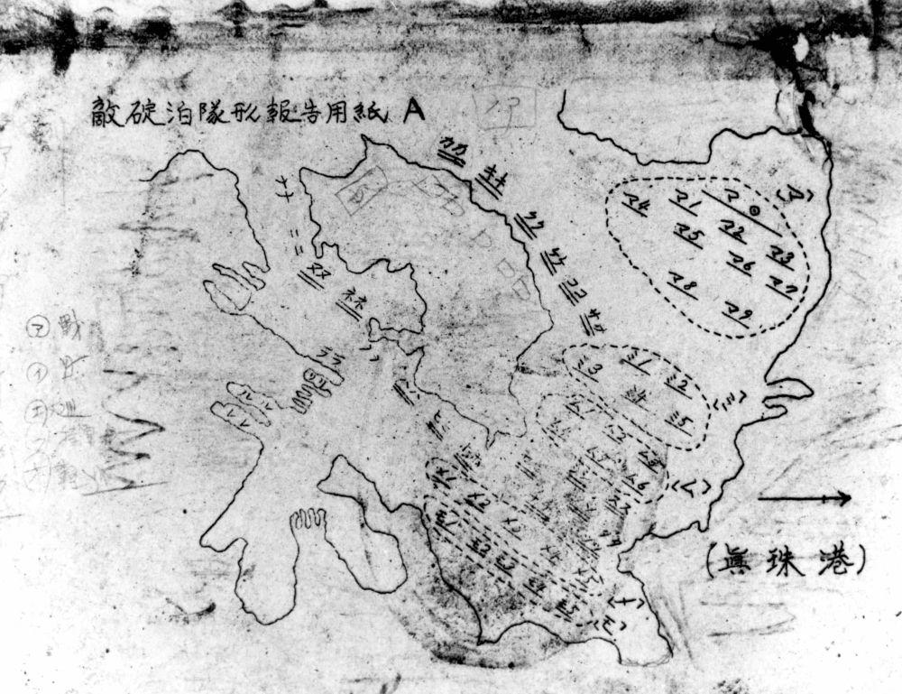 标有敌军舰船位置的日本地图