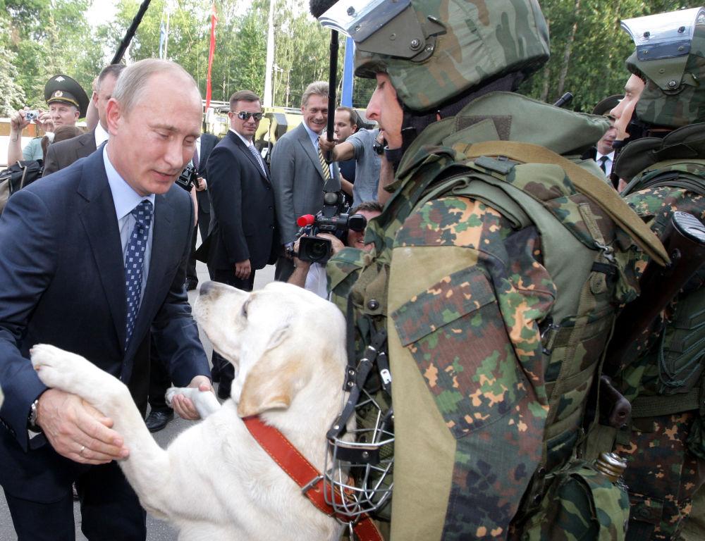 弗拉基米尔•普京视察俄内务部内卫部队独立作战师。