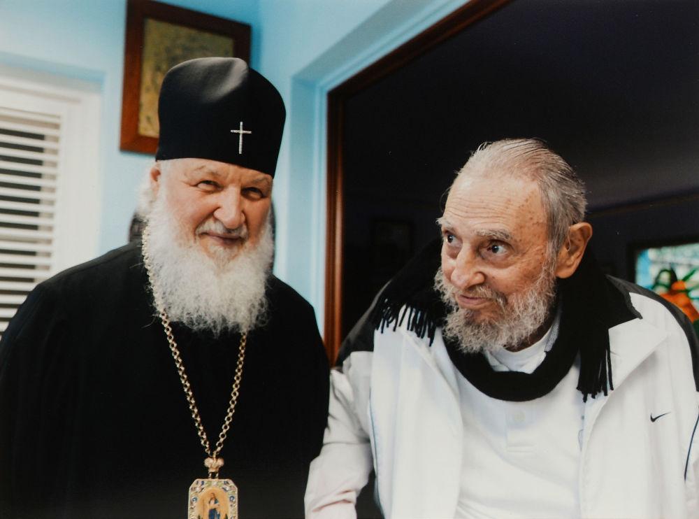 莫斯科及全俄罗斯东正教大牧首基里尔与古巴前国务委员会主席菲德尔·卡斯特罗