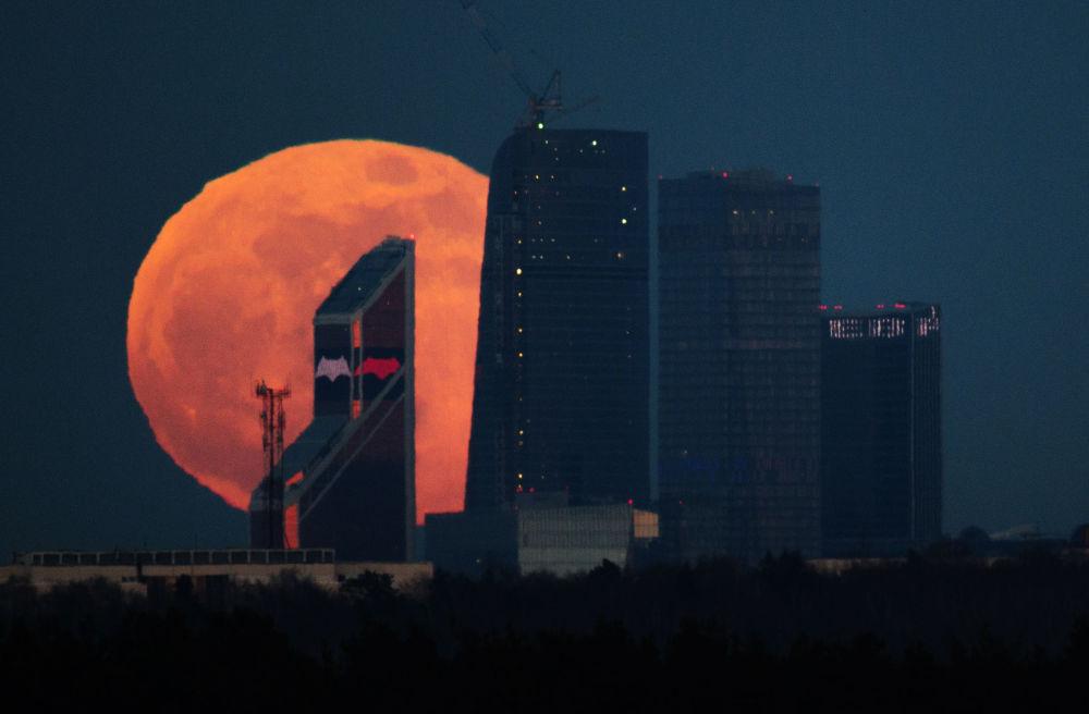 """莫斯科国际商务中心""""莫斯科城""""上空的满月"""