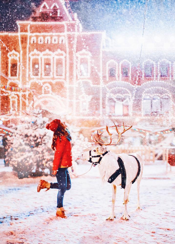 女孩和驯鹿,红场