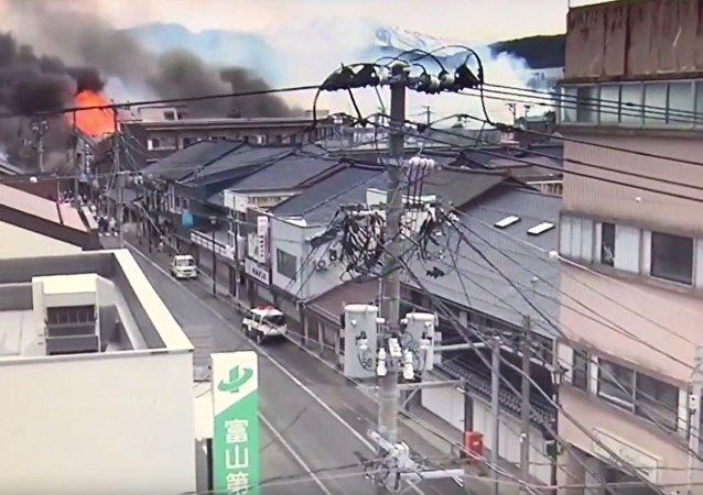 日本泡沫塑料厂发生大型火灾 (资料图片)
