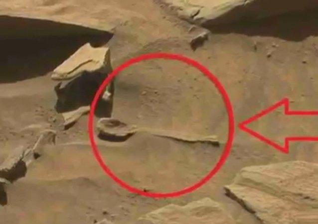 """好奇""""火星探测器拍到火星上有勺形物体"""