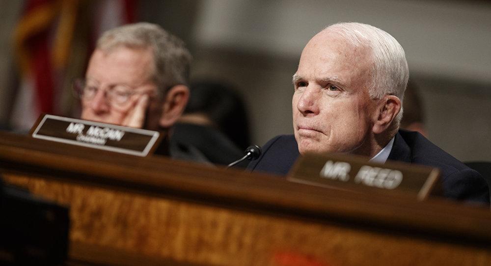 美国参议员约翰·麦凯恩(右边)