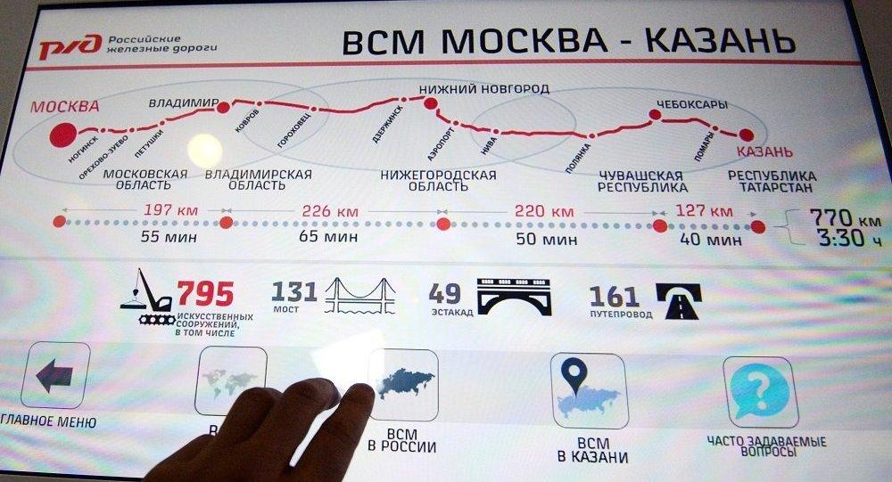 俄鐵公司提議中方增加莫斯科-喀山高鐵項目信貸量並降低利率