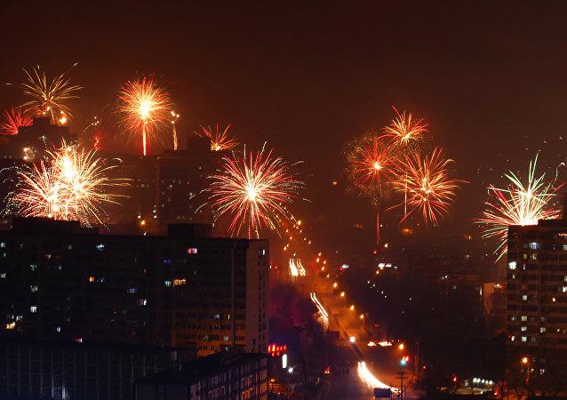 中国人舞狮子喜迎传统的新春佳节