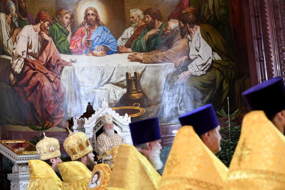 莫斯科和全俄宗主教在莫斯科的基督救世主大教堂内的圣诞节礼拜上