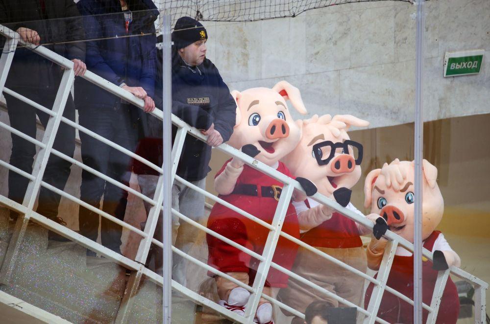 在大陆冰球联盟常规赛上的斯巴达克队吉祥物