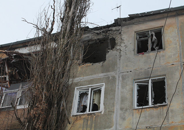 A building damaged by an attack of the Ukrainian armed forces in Donetsk