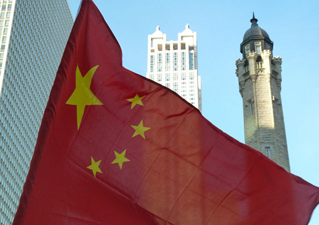 Chinese Flag and Chicago Water Tower