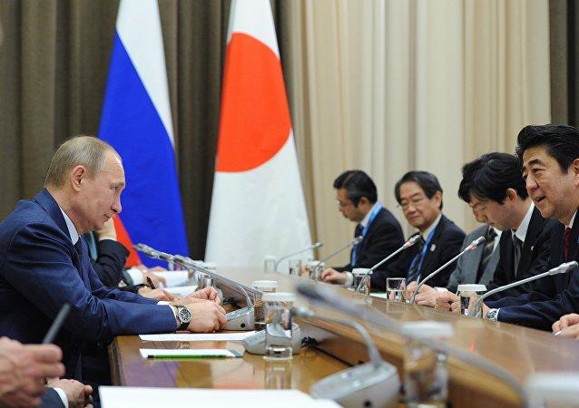 俄总统普京和日本首相安培晋三的会晤/资料图片/