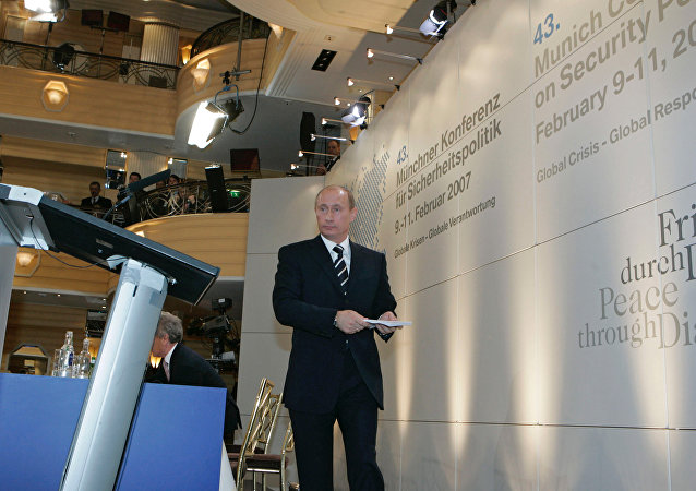 Russian President Vladimir Putin before his addressing the 43rd Munich Conference in 2007