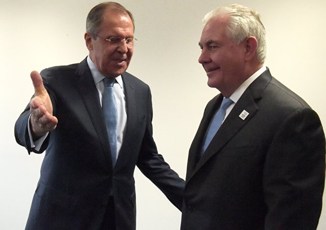 美国国务卿蒂勒森与俄罗斯外长拉夫罗夫/资料图片/