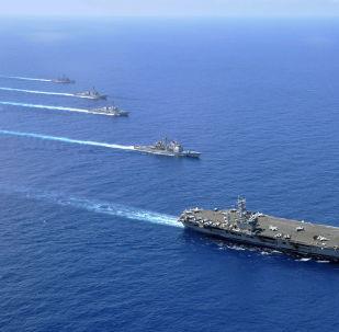美国海军航母群开始在南中国海巡航