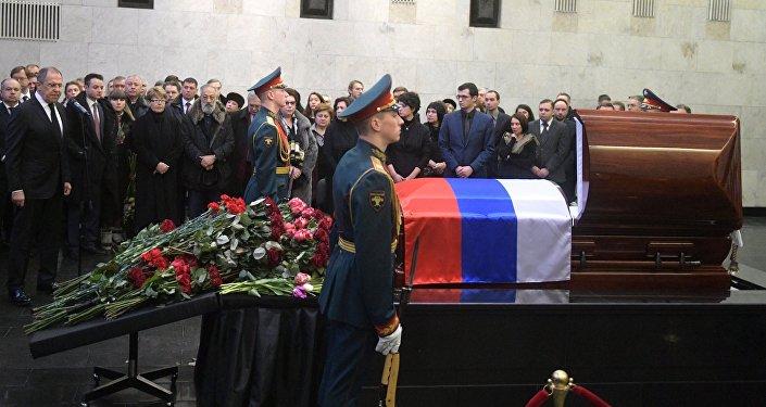 俄常驻联合国代表维塔利∙丘尔金的遗体告别仪式在莫斯科举行