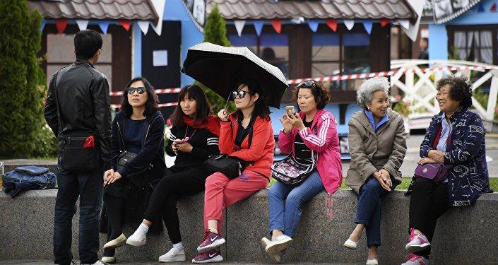 中国游客在莫斯科