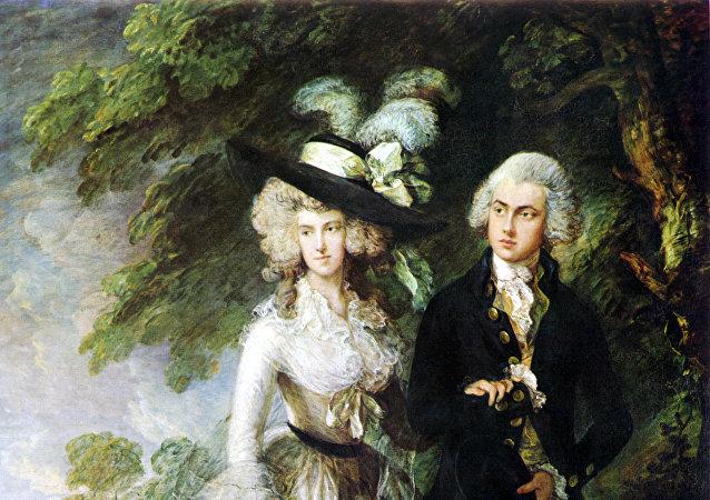 英国著名画家托马斯·盖恩斯伯勒的绘画作品《威廉·哈雷特夫妇》