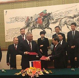 俄羅斯內務部部長弗拉基米爾∙科洛科利採夫在與中國安全部部長郭聲琨