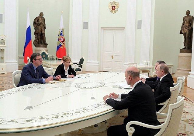 俄罗斯总统普京与塞尔维亚总理武契奇