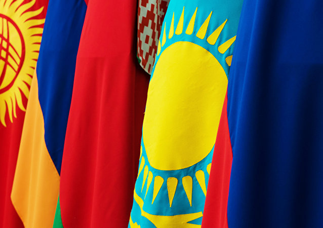 The flags of Kyrgyzstan, Armenia, Belarus, Kazakhstan and Russia, member counties of the Eurasian Economic Union