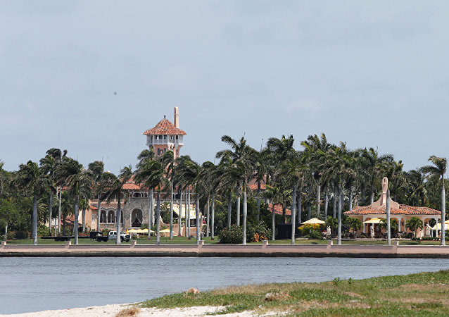 The Mar-a-Lago estate owned by U.S. President Donald Trump is shown with a U.S. flag
