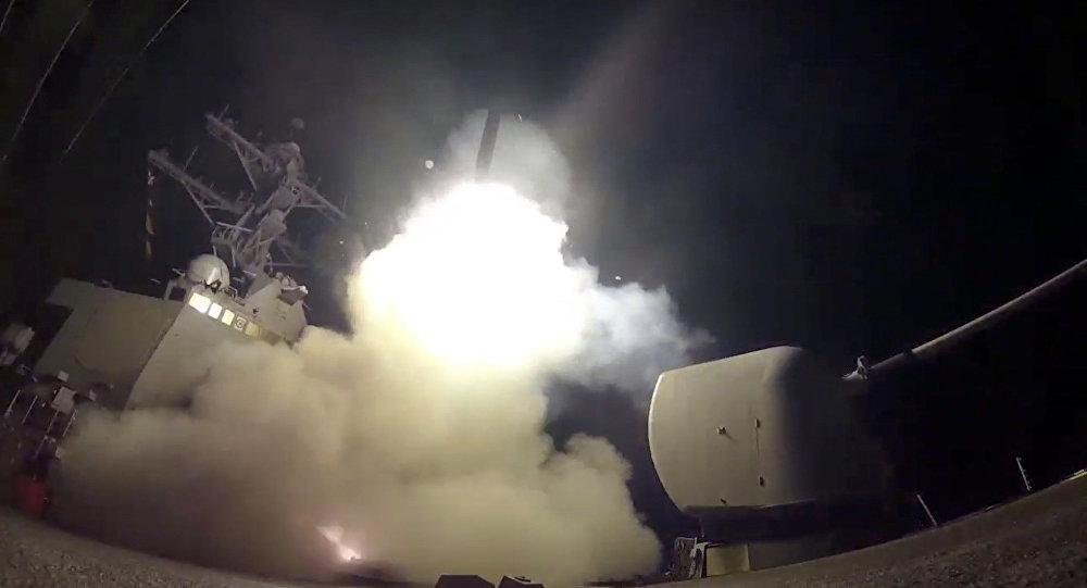 美國武裝力量正在針對敘利亞數個目標實施打擊,動用「戰斧」( TOMAHAWK)巡航導彈