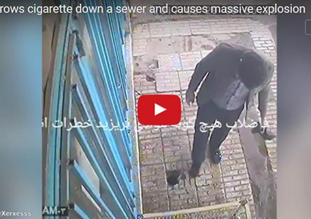 В Иране мужчина устроил взрыв, бросив окурок в канализацию