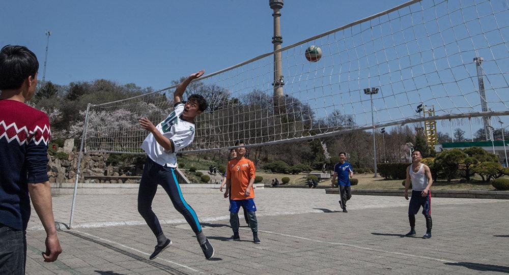 美国备战时 朝鲜却在打排球