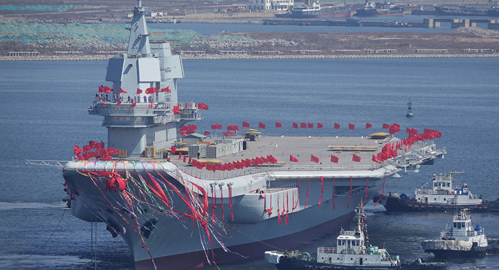 China's first domestically built aircraft carrier is seen during its launching ceremony in Dalian, Liaoning province, China CHINA OUT