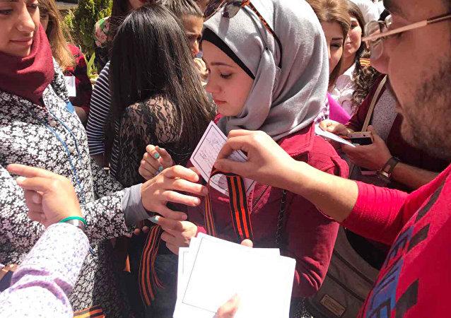 """在叙利亚首次举办""""圣乔治丝带""""活动"""