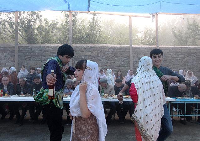 在達吉斯坦村鎮的婚禮儀式