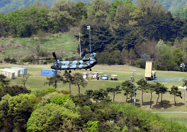 A Terminal High Altitude Area Defense (THAAD) interceptor (R) is seen in Seongju, South Korea