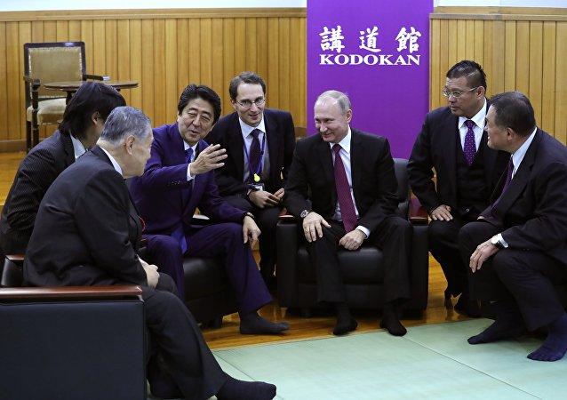 日本首相安倍晋三在与俄总统普京会晤期间