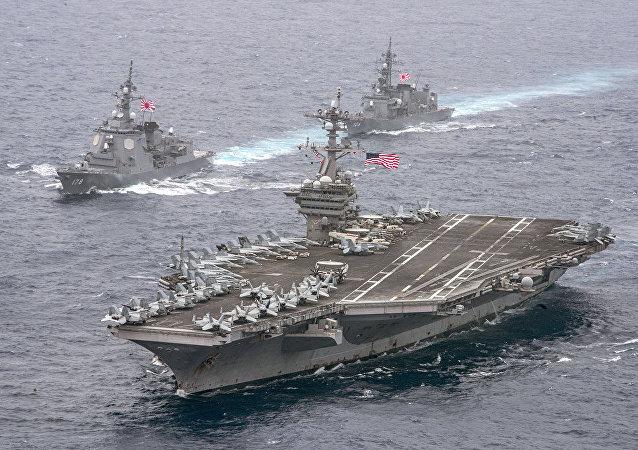 """美韩在日本海开始军演 """"卡尔∙文森""""号航母参与其中"""