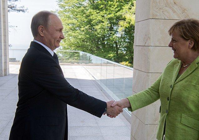 普京与默克尔开始会谈