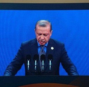 土耳其总统塔伊普·埃尔多安在论坛开幕式上第三位发言