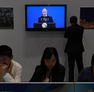 """俄罗斯总统普京在""""一带一路""""国际合作高峰论坛开幕式"""