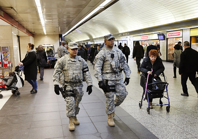 Members of the New York National Guard patrol Penn Station