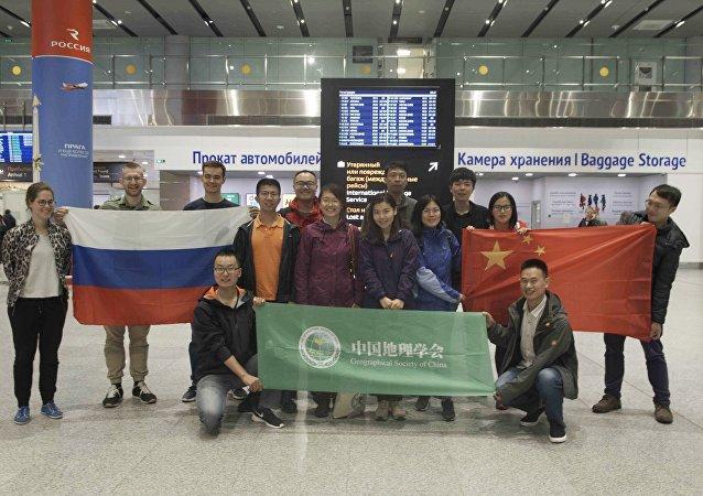 """中国生态学者抵达圣彼得堡参加""""戈格兰岛""""探险活动"""