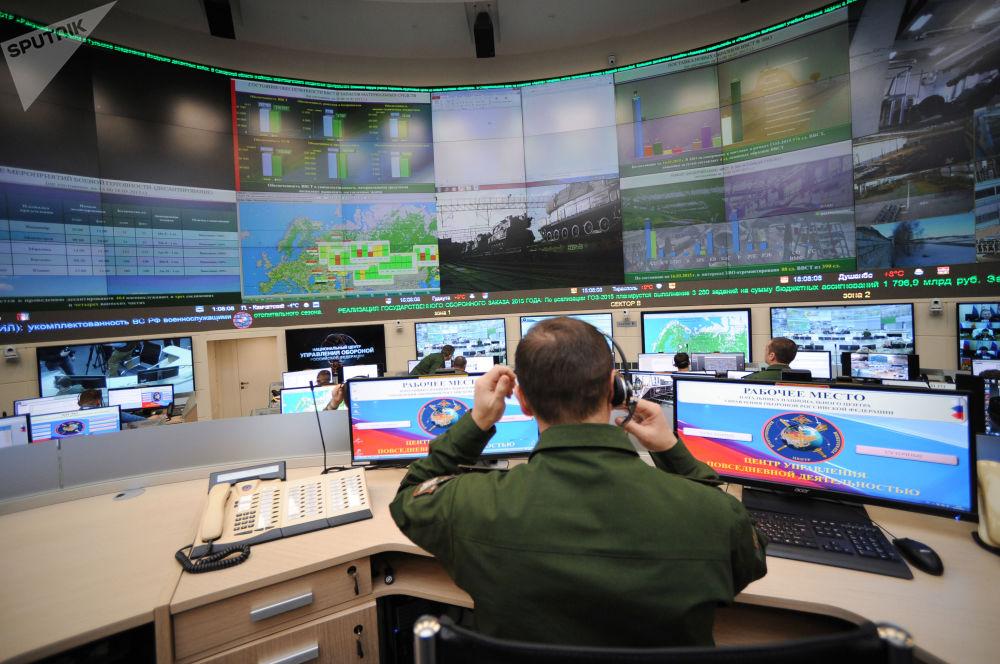 俄罗斯联邦武装力量日常活动管理中心的一名军人。