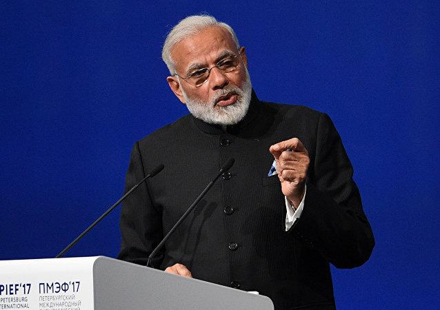 """印度总理在圣彼得堡经济论坛上提出建设""""新印度""""计划"""