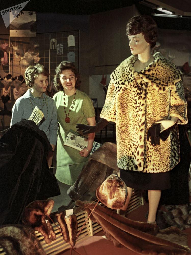 女孩子们细看一件毛皮大衣