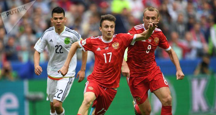 俄罗斯国家足球队在联合会杯比赛中败给墨西哥队